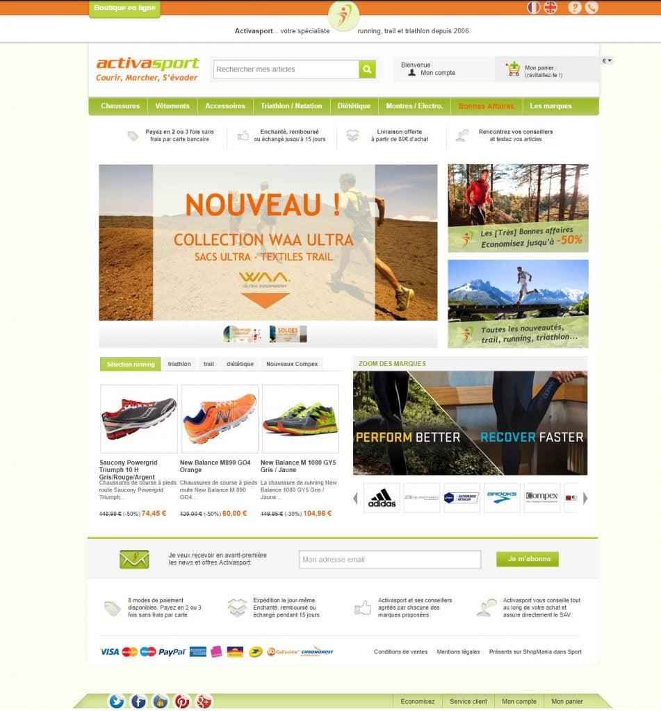 Activasport onlineshop homepage