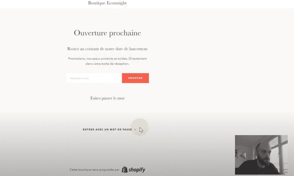 ouvrir boutique shopify nom domaine