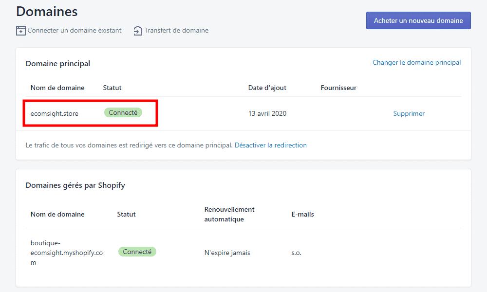 shopify changer nom de domaine